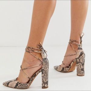 ASOS Power Trip High Block Heels in Snake